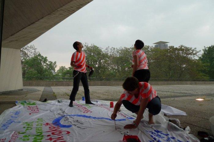 raising questions painting flag RAIN